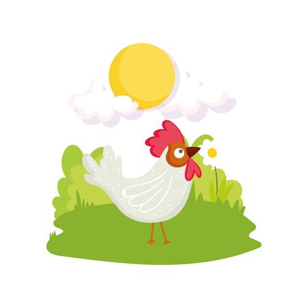rooster bird flower grass sun farm animal cartoon vector illustration 일러스트
