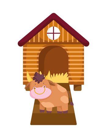 house hen bull farm animal cartoon
