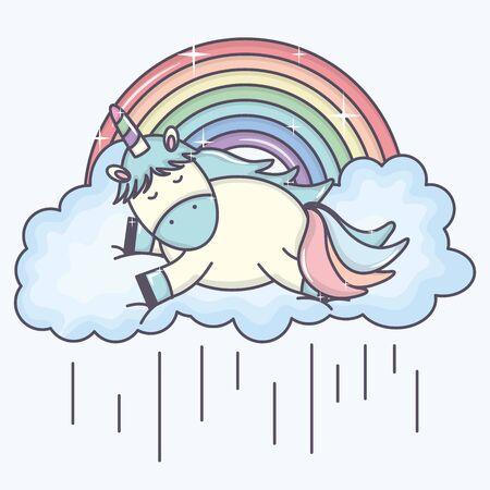cute adorable unicorn with clouds rainy and rainbow Ilustracja