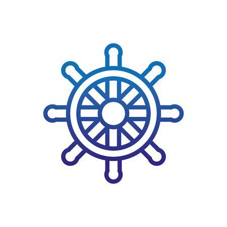 steering wheel ship marine life thick line blue vector illustration Çizim