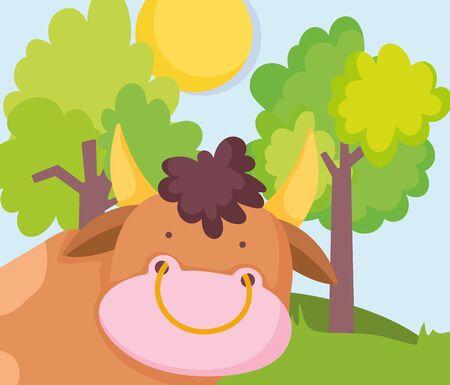 cute bull trees grass sun farm animal cartoon vector illustration
