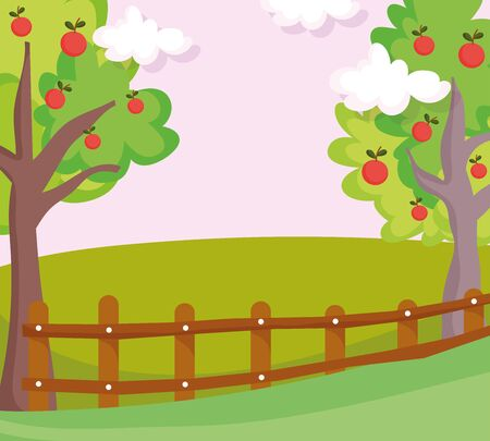 landscape nature clouds fruits trees wooden fence vector illustration
