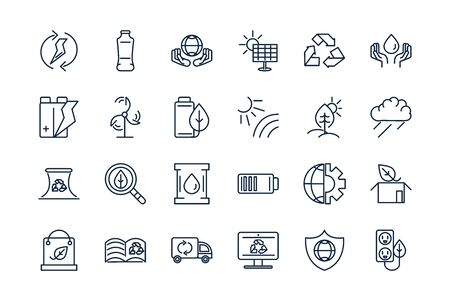 ecology environment renewable sustainable icons set linear