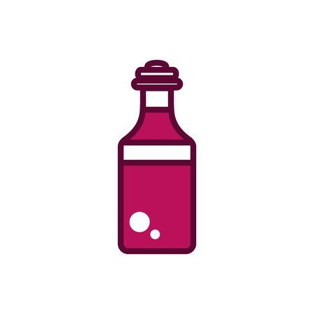wine bottle liquor celebration drink beverage icon vector illustration line and filled