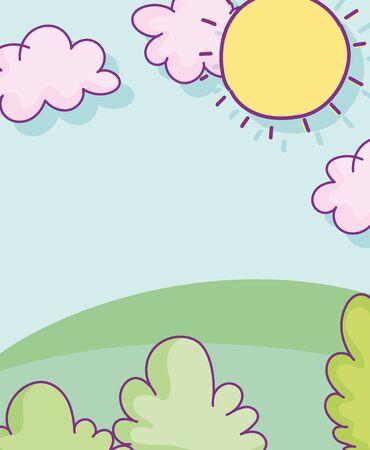 landscape foliage grass sun clouds hearts love cartoon vector illustration Ilustracja