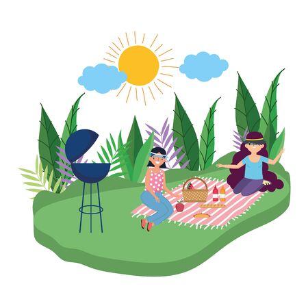 Women friends having picnic design Ilustracja