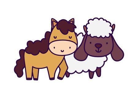 horse and sheep farm animal cartoon Ilustração