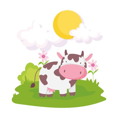 cute cow livestock flowers grass sun farm animal cartoon