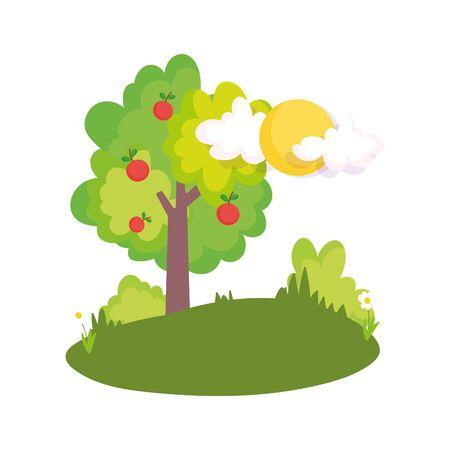 fruits tree apples harvest field bush sun clouds farm Ilustracja