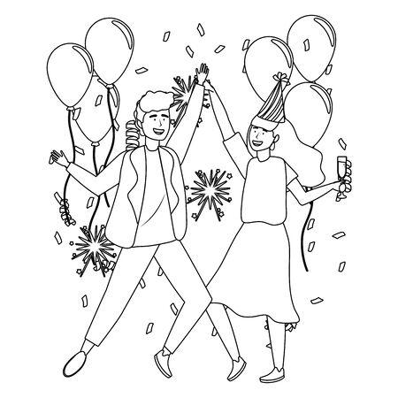 Man and woman in celebration design Ilustração