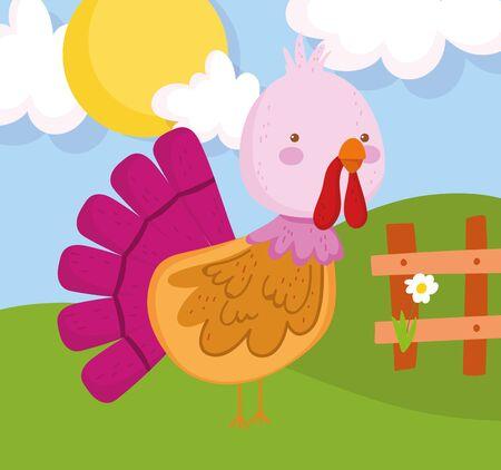 turkey flower wooden fence sun farm animal cartoon