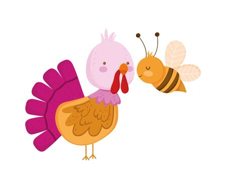 turkey and bee farm animal cartoon