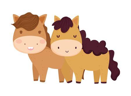 cute couple horse tree sun farm animal cartoon
