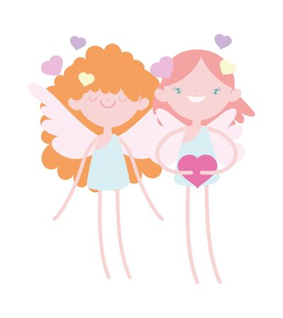 happy valentines day, cute cupids with hearts feeling romantic cartoon