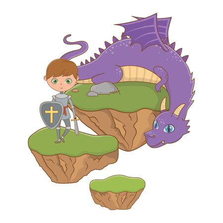 Medieval knight and dragon of fairytale design vector illustration Ilustrace