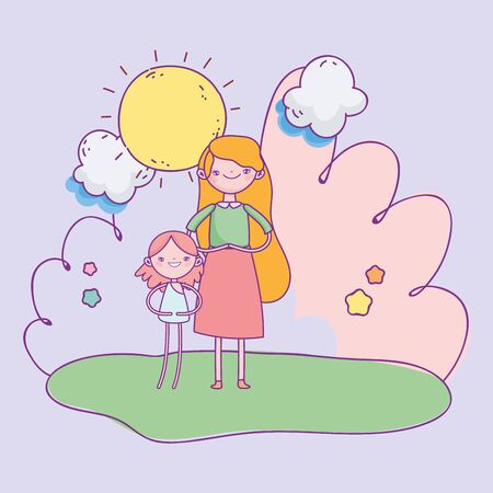 happy valentines day, cute girl and cupid in the grass sky clouds sun Ilustracja