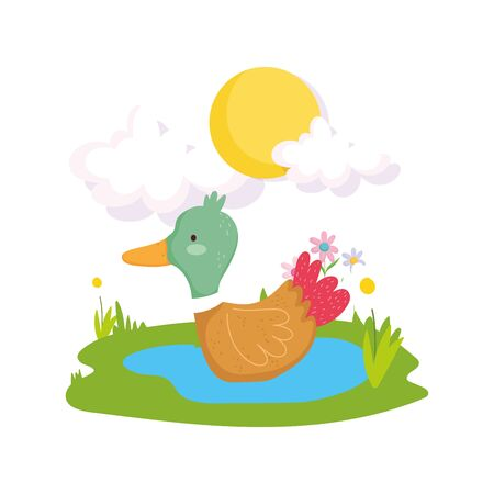 duck lake plants greenery farm animal cartoon Ilustração