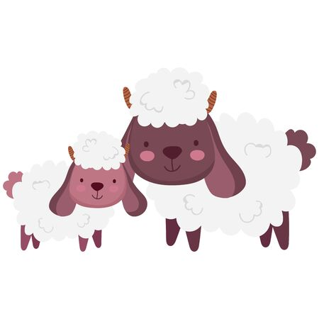 sheeps family farm animal cartoon