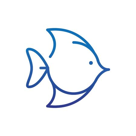 exotic fish marine life thick line blue Foto de archivo - 138396067