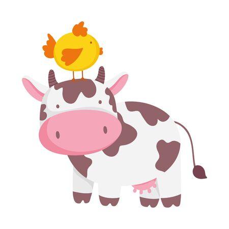cow and chicken in head farm animal cartoon