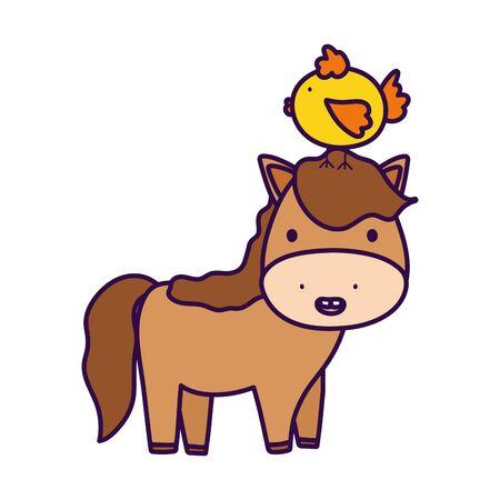 horse with chick in head farm animal cartoon Ilustração