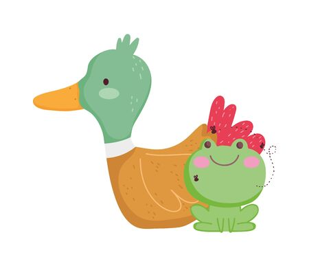 duck and frog farm cartoon animal