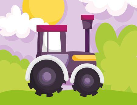 tractor truck machine grass sun clouds farm cartoon vector illustration Ilustração