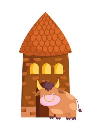 house rural architecture and bull farm animal cartoon vector illustration