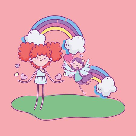 happy valentines day, funny cupids girls rainbow clouds hearts love vector illustration