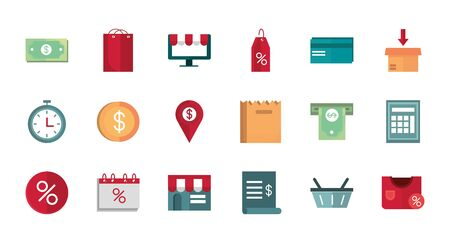 shopping business commerce trade online icon set vector illustration Illustration