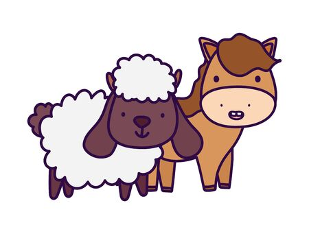 horse and sheep farm animal cartoon vector illustration 일러스트