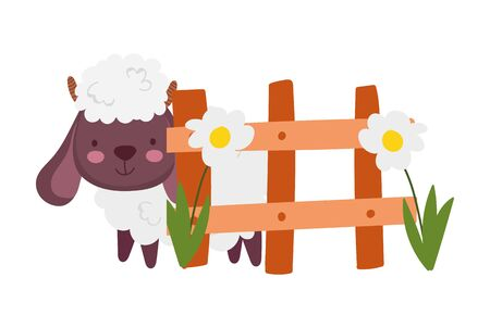 sheep bovine fence flowers farm animal cartoon vector illustration