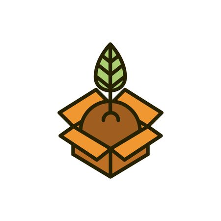sprout plant with soil in cardboard box nature drawing vector illustration Ilustracja
