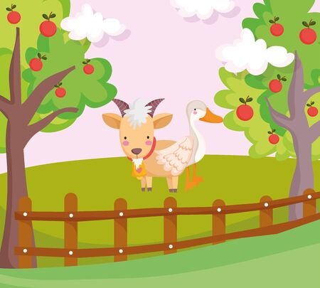 goose and goat wooden fence fruits trees farm animal cartoon vector illustration