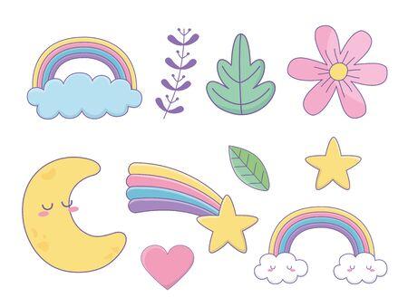 set of fantasy icons kawaii styles vector illustration design