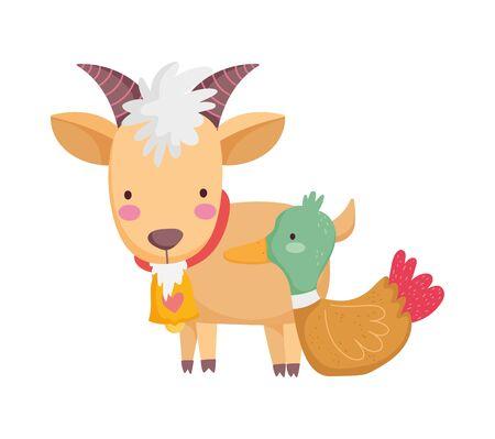capra con campana anatra animale da fattoria cartone animato illustrazione vettoriale Vettoriali