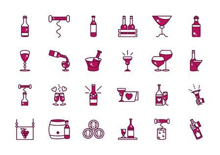 wine celebration drink beverage party event icons collection vector illustration line and filled 일러스트