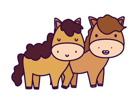 cute couple horse farm animal cartoon vector illustration