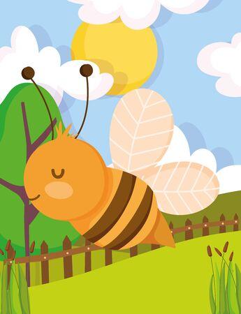 bee wooden fence grass tree sun farm animal cartoon vector illustration