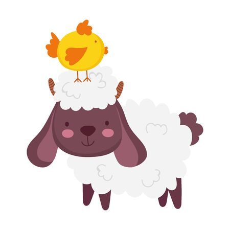 sheep with chick in head trees sun grass farm animal cartoon vector illustration