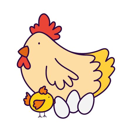 cute hen chicken and eggs farm animal cartoon 向量圖像