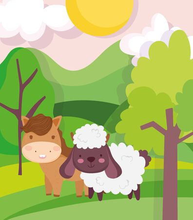 horse and sheep field trees sky sun clouds farm animal cartoon vector illustration