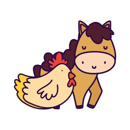 horse and hen farm animal cartoon vector illustration Ilustração