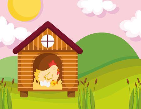 hen chicken and eggs in wooden house farm animal cartoon Ilustração