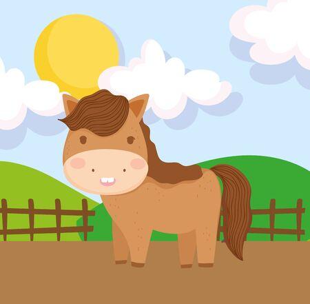 horse fence field sun hills farm animal cartoon Ilustração