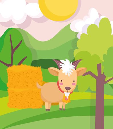 goat and hay stack trees field sun farm animal cartoon