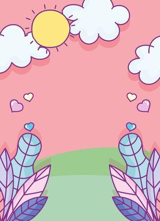 landscape foliage leaves hearts love clouds sun cartoon Ilustracja