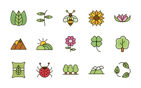 nature foliage botanical ecology drawing icons set