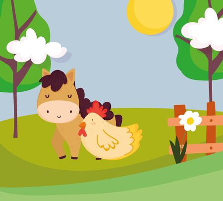 horse and hen wooden fence flowers trees farm animal cartoon