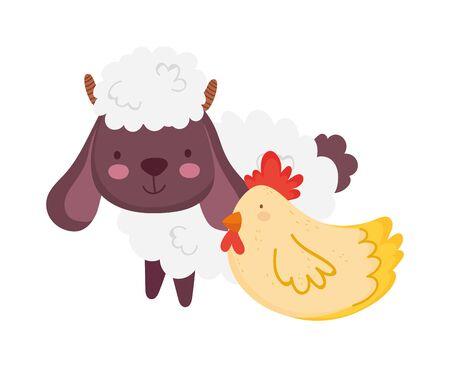 sheep and hen farm animal cartoon
